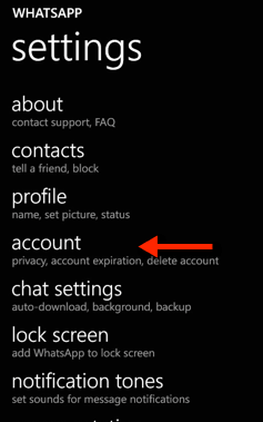 Windows Phone WhatsApp Account Settings
