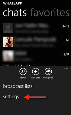 Windows Phone WhatsApp Settings