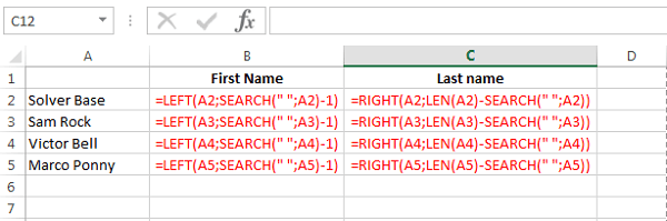 Excel 2013 Formula Separate First And Last Name