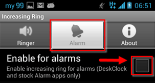 increasing rings select Enable for alarms
