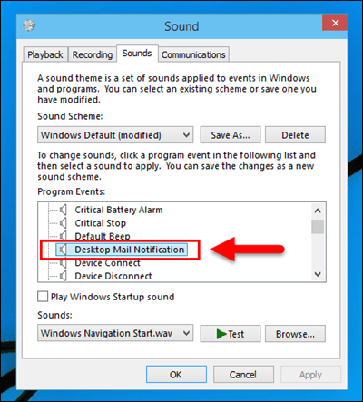 notification sounds not working windows 10