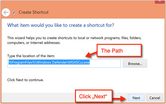Creating a new shortcut on Windows 8