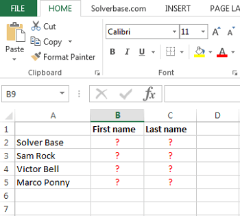 text formel excel