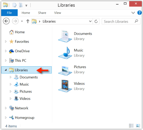 how to find libraries windows 10