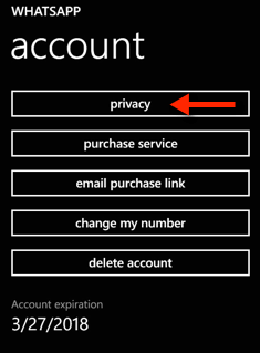 Windows Phone WhatsApp Privacy