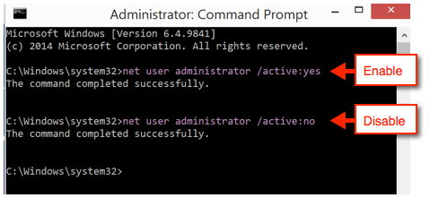 net user administrator * /active:yes +  net user administrator /active:yes + net user administrator /active:no